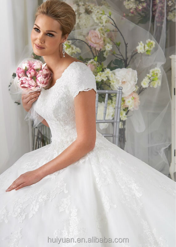 newest designer round neck cap sleeve lace ball gown wedding dress islam