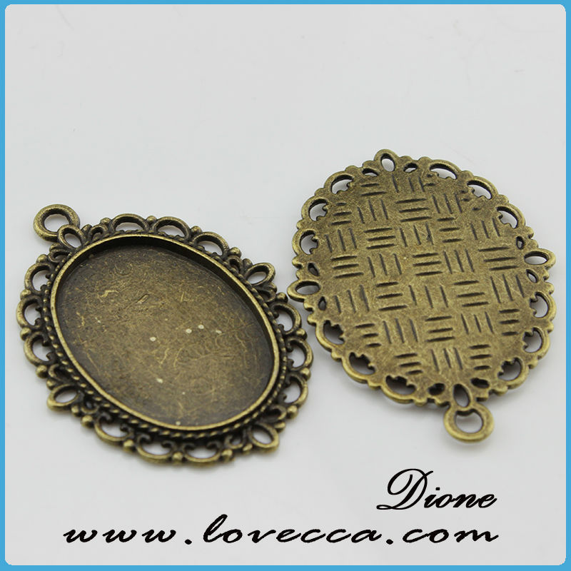 round alloy blank pendant	,Antique style metal setting,Cameo Setting Charm Pendant