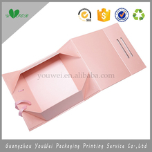 guangzhou pink color folded paper box with silk ribbon maquillage cosmetic makeup beauty salon fashion luxury toiletry packaging