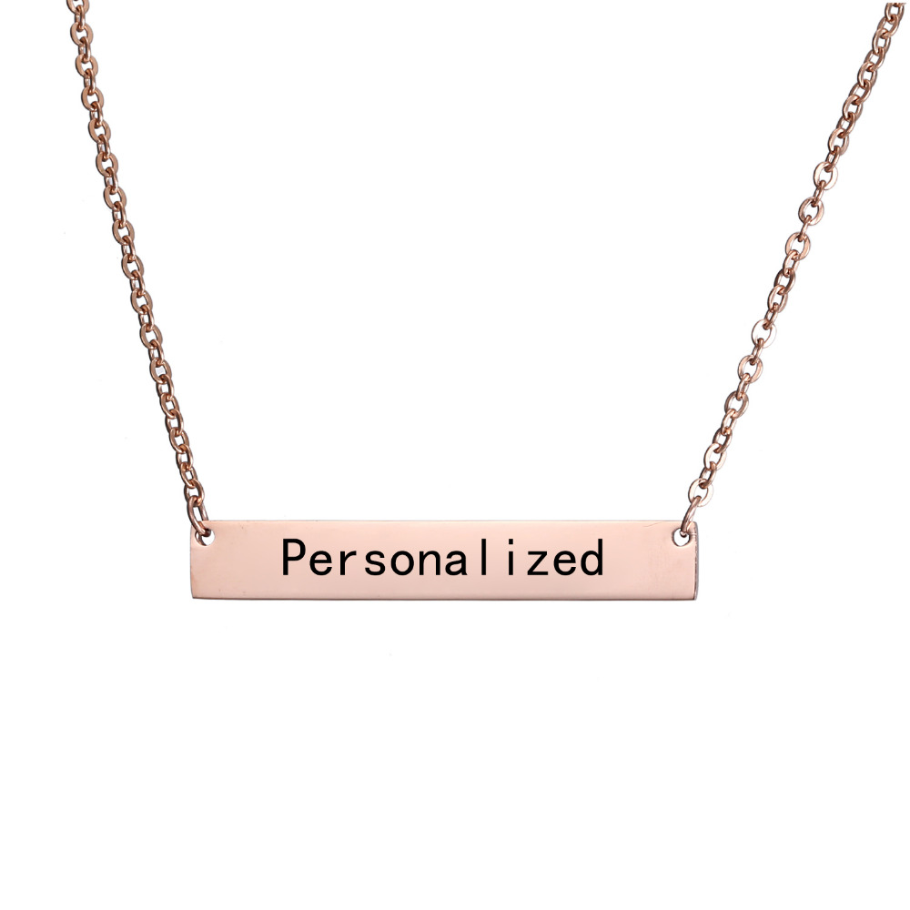 New Personalized Blank Bar Pendant Necklace 3 Colors Stainless Steel Custom Name Plate Necklace Can Engrave Word Letters Jewelry 4