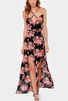 DY1863W Europea fashion ladies flower printed high slit long strap dress