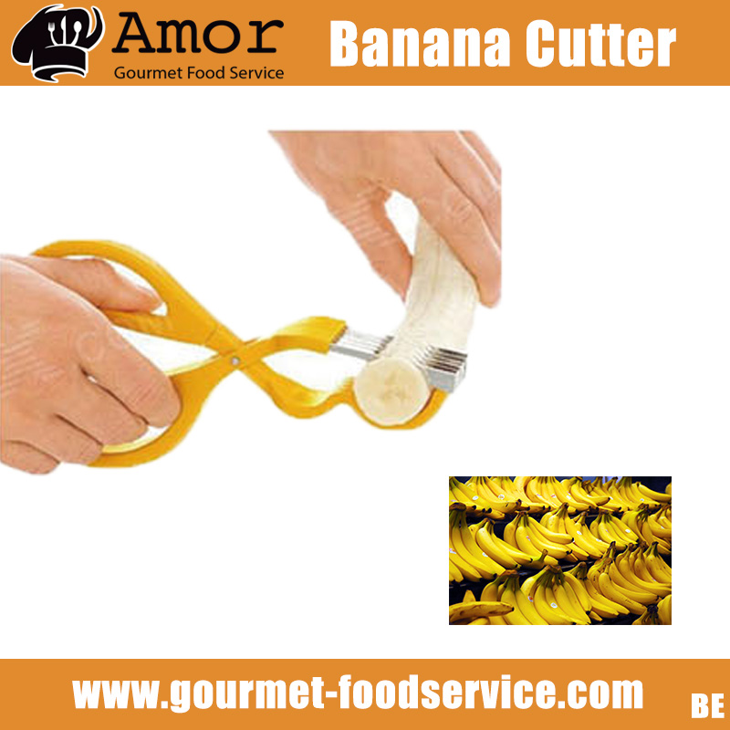 Kitchen Yellow Plastic Banana Slicer Cutter Chopper