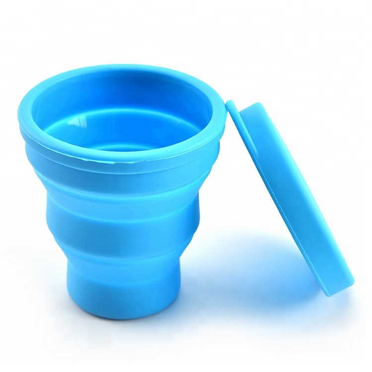 Food grade silicone folding <strong>cup</strong> collapsible travel <strong>cup</strong> with lids