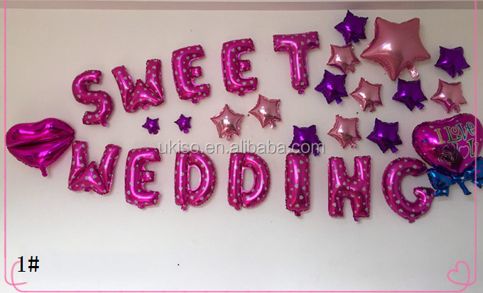 Alphabet Letters Happy/Sweet Wedding <strong>L</strong> Love You Merry Me We Are Merried Party Foil Balloons Aluminium Film