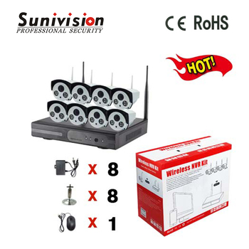 Hot sale 3.6mm 4mm 6mm 8mm fixed lens wireless 960p h.264 8ch cctv nvr kits