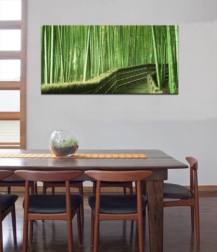 guter qualit t modernes kunstdrucke auf leinwand realistisch bambuswald lgem lde malerei. Black Bedroom Furniture Sets. Home Design Ideas