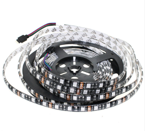 A2-White 300 leds Black PCB LED Strip 5050 DC12V Flexible LED Light 60 LED/m 5m/lot <strong>RGB</strong> White