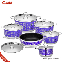 2018 new design 8pcs stainless steel enamel paint cookware paint