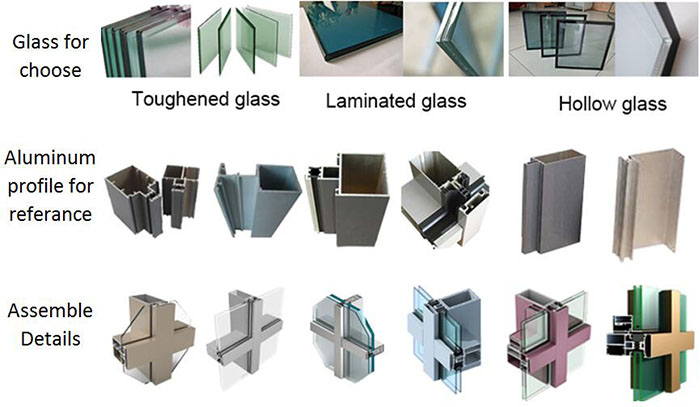 Exterior aluminium curtain wall facade glass panel