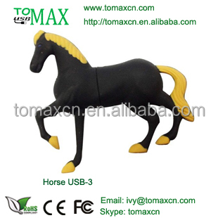 Promotional factory price black horse shape usb flash disk