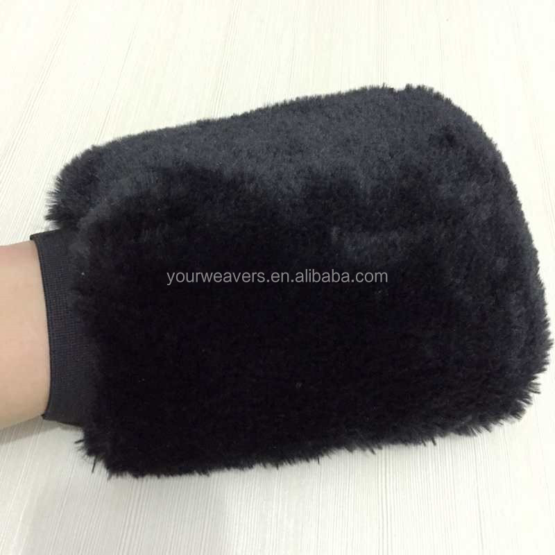 Black Waterproof Synthetic Wool Car Wash Mitts