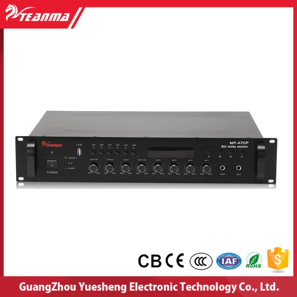 Used broadcast equipment for sale 6 Zone Phono and Microphone Preamplifier Power Mixer Amplifier MP A70P for MP/PA System