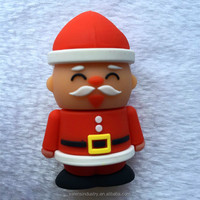 3D Promotional Customized Design Bulk Santa Claus Shape Santa Claus Christmas USB Flash Drive Stick