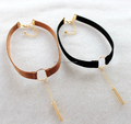 1cm Multi Color Suede Strap Choker,big circle choker with Drop chain bar Choker