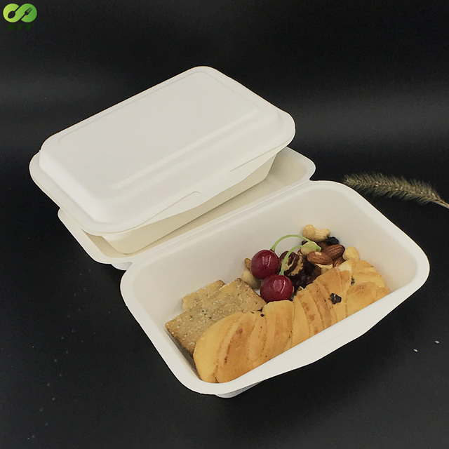 Disposable hinged bagasse fiber fast food container boxes
