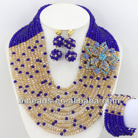 New Fashion Royal Blue&Champagne Crystal Beads Jewelry Set AJS091