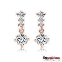 New Latest Design Fashion Eardrops Rose Gold Plated Cubic Zirconia Luxury Crystal Stud Earrings Women Jewellery ER0188-A