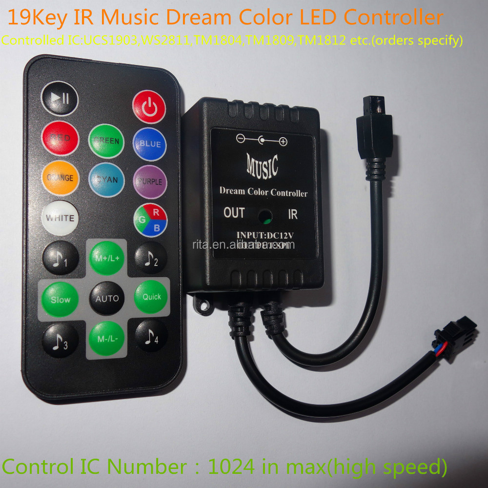 19 schl ssel f hrte ir musik traum farbige led controller ic gesteuert modell ucs1903 ws2811. Black Bedroom Furniture Sets. Home Design Ideas
