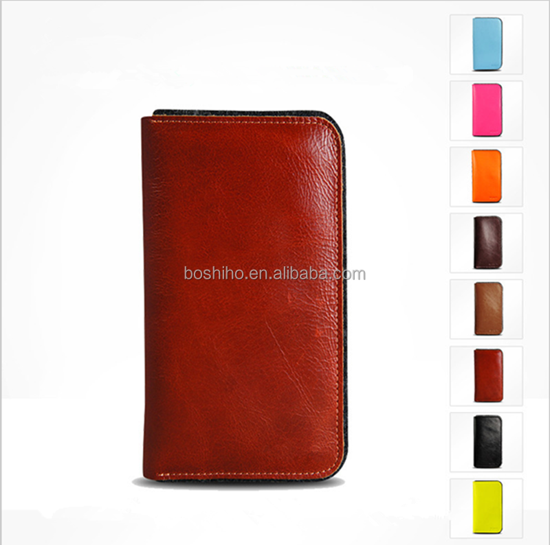 2015 Newest Unique Design Genuine Leather & Wool Felt Flip Case for iPhone 6 4.7 inch For iPhone 6 Plus 5.5 for iphone bag