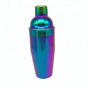 Metal Rainbow Color Drink Cocktail Martini Shaker, Stainless Steel Cocktail Mixer
