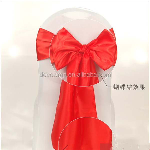 8 inch x 108 inch Red Satin Banquet Chair Sash/chair Bow For Wedding Use