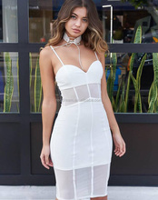 2017 New White Sleeveless V-Neck Spaghetti Strap With Mesh Top Quality Sexy Women Bandage Dress Wholesale