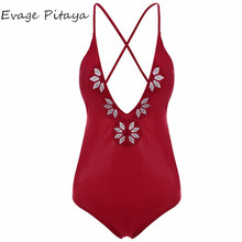 2017 New designs hot sale Low MOQ wholesale Embroidered V neck red open sexy xxxx hot sex bikini young girl swimwear
