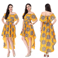 Latest Designer Factory Wholesale Casual Fashion Women Yellow Floral Print Dress