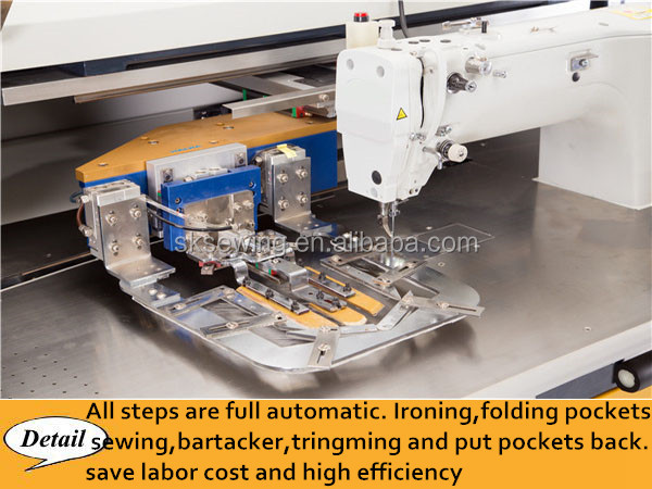 Automatic computer jeans shirt clothing pocket setter sewing machine