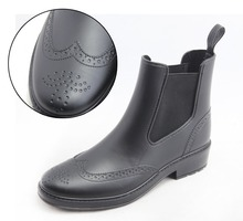 New Fashion Chelsea Matt Brogue PVC Rain Boot Women Wellington Rain Shoes Wellies