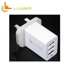 UK market hot selling mobile phone multiple usb qc3.0 wall charger with CE FCC ROHS approvaled