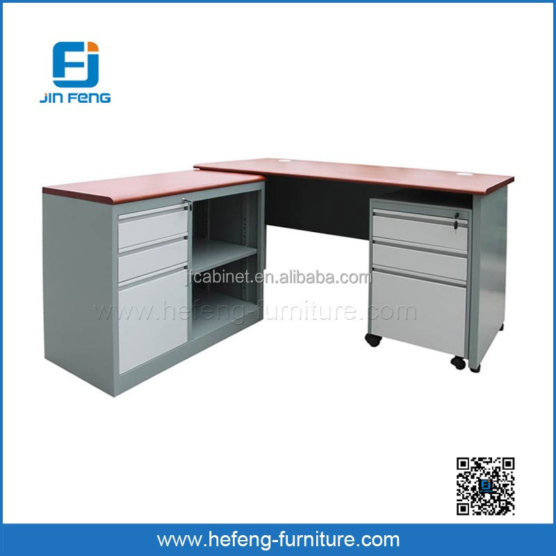 L Shape Extention Steel Office Table with Side Storage Cabinet
