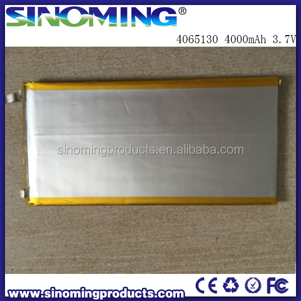 High capacity Li-polymer battery 4065130 4000mAh 3.7V Tablet PC power battery