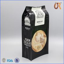 box bottom zipper kraft paper bag 4 side qual seal gusset stand up pouch,coffee bean packaging bag