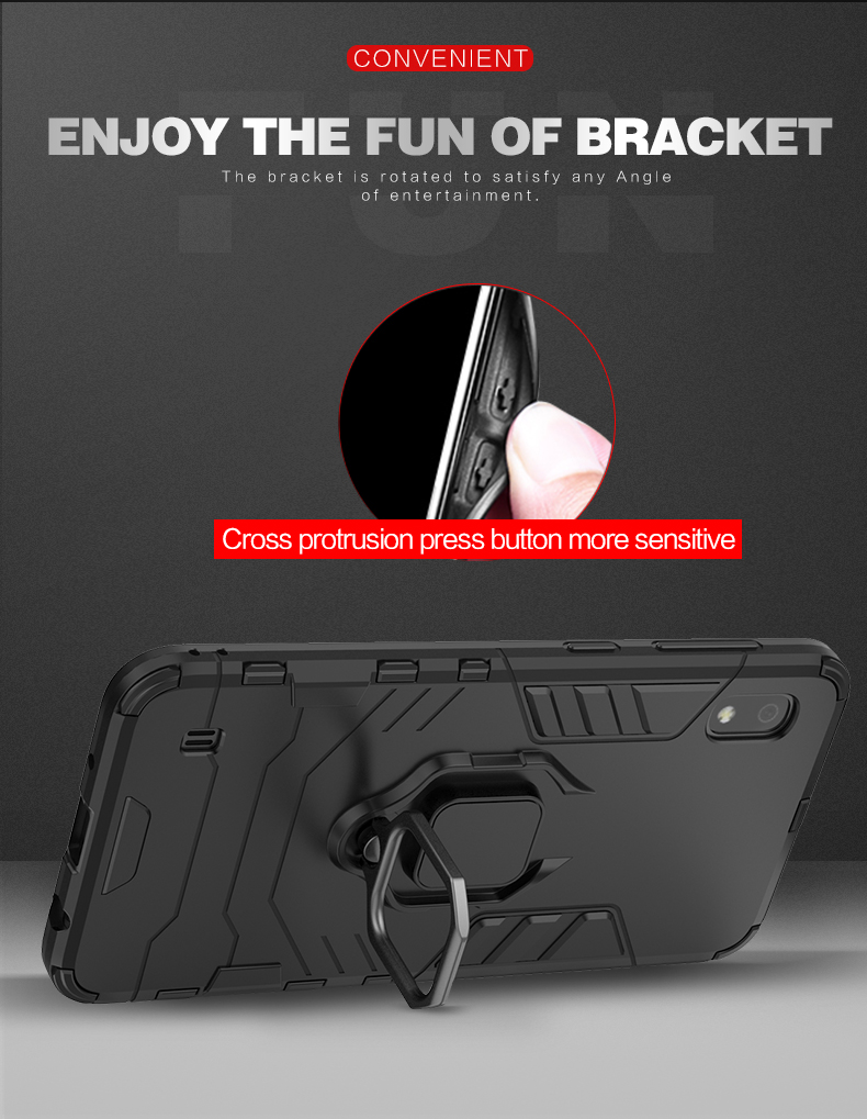 Car mount magnetic attraction tpu pc ring holder protective phone case for huawei Y9 Prime 2019 case