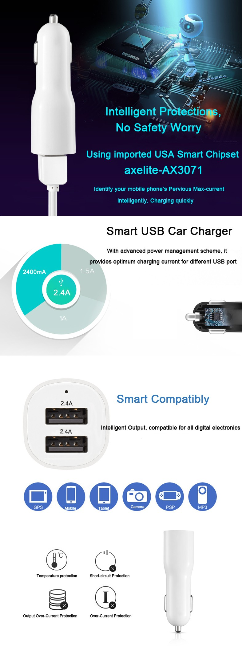 High Quality LED Display Dual USB Car Charger Adapter Mini 5V 4.8A Voltage Monitor Inverter 12v 220v Smart Car Battery Charger