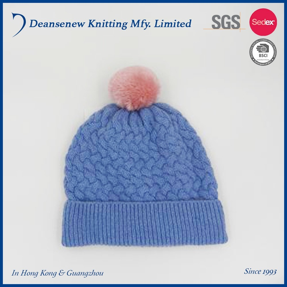 New Cute Cheap 60% Cotton/30% Nylon/10% Merino Wool Warm Winter Adult Female Women Teen Girl Blue Cable Knit Pom Pom Beanie Hat