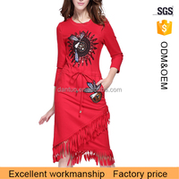 Women one piece flowing red new fashion dress with fringe