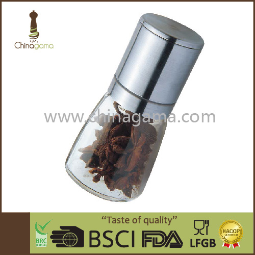Stainless Steel Herb and Spice Grinder, Glass Spice Jar