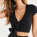 Hot selling latest design girls top casual ribbed knit wrap women crop top