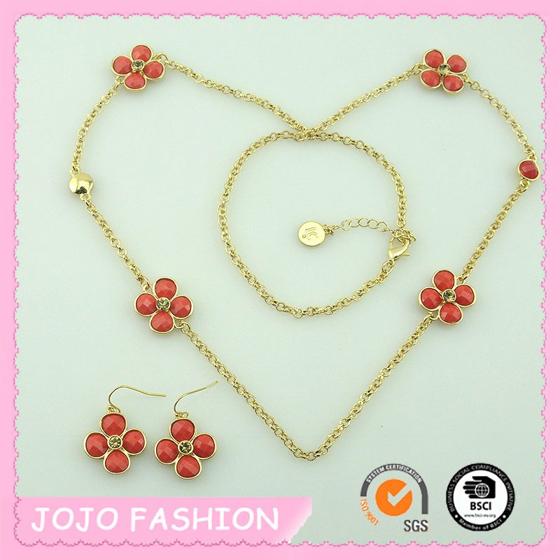 Fashion romantic four small flowers resin fringed long paragraph sweater chain necklace and earring female accessories