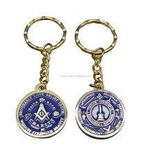 Cheap Custom masonic metal Keyring round key chain