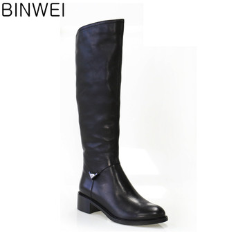 new arrival fashion lady knee boots with first layer cow leather upper material high quality handwork competetive price
