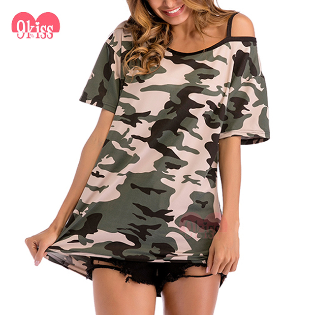 Plus Size Women Clothing Tunic Tops Camouflage T Shirt Ladies Long Tops