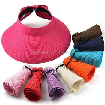 Fashion Girl Lady Beach Sun Visor Foldable Roll Up Wide Brim Straw Hat