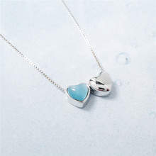 MYLOVE FREE SHIPPING Valentine's Day gifts fashion jewelry 925 sterling silver double blue heart pendant <strong>necklace</strong>