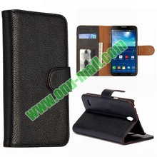 Litchi Texture Leather Case for Samsung Galaxy Round G910 with Card Slots and Holder