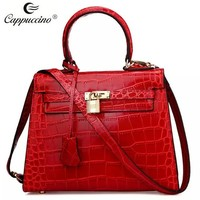 Famous Luxury Brand Designer Handbag croc genuine Leather Women Red Tote Bag