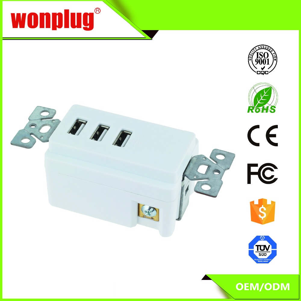 High Quality 3100mA USA Wall Socket Charger with 3 Port USB Outlet