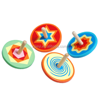 ufo spinning top wooden tube tops kids wholesale hand stick toy beyblade